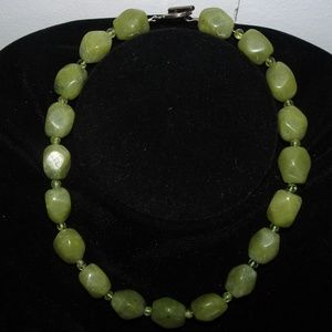 Faceted Green Stone 925 SS Toggle Clasp Necklace